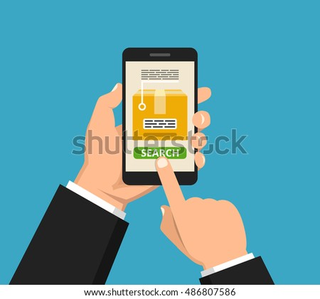 Hand holding smartphone with order tracking on the screen. Vector flat illustration.