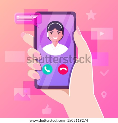 Hand holding smartphone with personal assistant service app. Advice supporting feedback, hotline talk chat. customer support call center and online advice service. online supporter agent