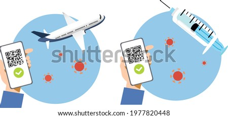 Hand holding smartphone with QR code on screen vector. Concept of digital sanitary pass, or European Green pass, of vaccine passport. Travelling authorization. Certificate of immunity and vaccination. Stock photo ©