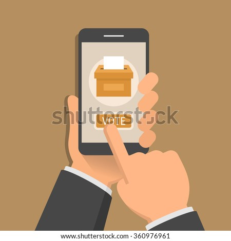 Hand holding smartphone with voting app on the screen, flat design style illustration
