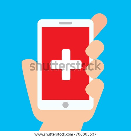 Hand holding smartphone with white cross on red background on screen. Medical application. Vector stock.
