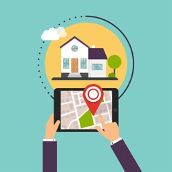 Hand holding Smartphones with mobile application search home. Find closest on city map. Flat design style modern vector illustration concept.