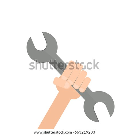 Hand holding spanner. Vector illustration isolated on white background