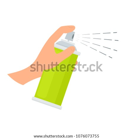 Hand holding spray can. Clipart isolated on white background