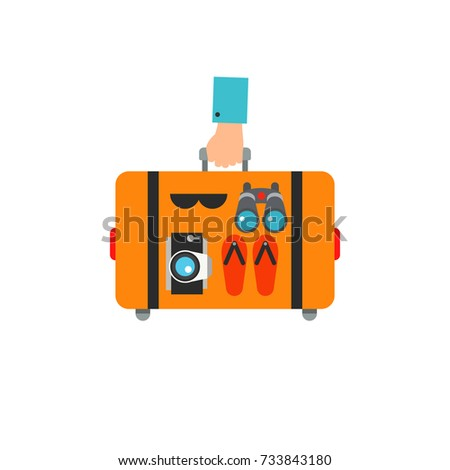Hand holding suitcase vector icon