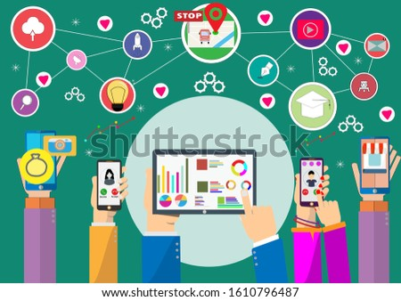 Hand holding tablet and mobile phone device with internet icons.He use application and connect on line.Calling service,contact,technology,love,Vector communicate and flat design vector.
