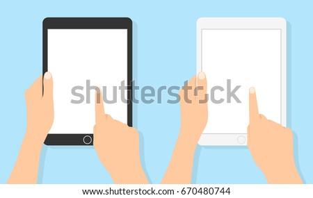 Hand holding tablet and touching screen Flat vector. Set tablets in hand with white clean screen. human hand holding mobile tablet with blank screen isolated on blue background.