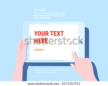 Hand holding tablet computer with white screen. Trendy modern flat blue color design for web, website, banner, mobile app. Using digital pc similar to ipad. Vector illustration