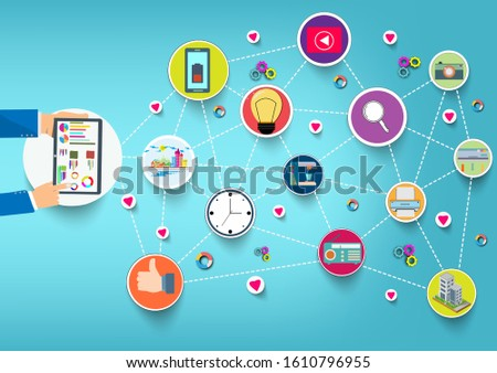 Hand holding tablet device with internet icons.He use application and connect on line.Calling service,contact,technology,love,Vector communicate and flat design vector.