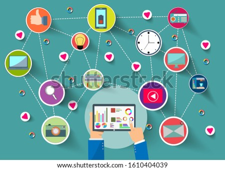 Hand holding tablet device with internet icons.He use statistics application and connect on line.Calling service,contact,technology,love,Vector communicate and flat design vector.