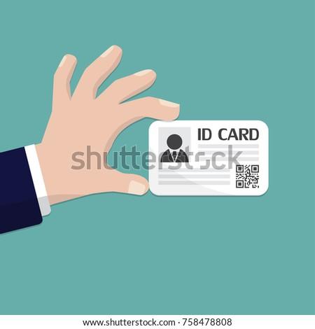 Hand holding the id card. Vector illustration flat design. Stock fotó ©