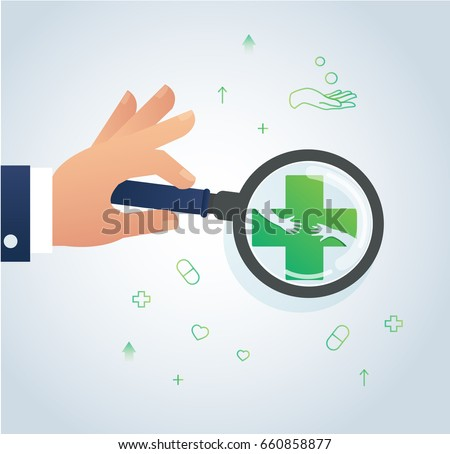 hand holding the magnifying glass and healthcare and medical  icon design logo symbol vector
