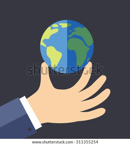Hand holding the planet (vector illustration, flat concept)