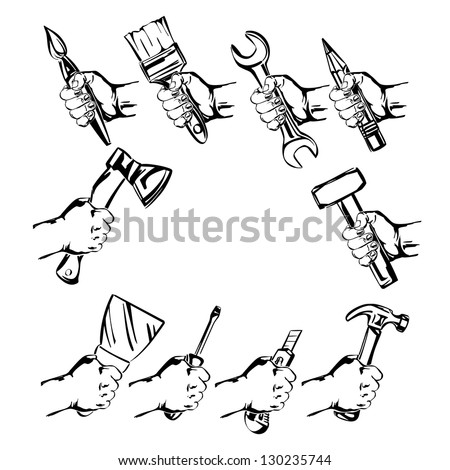 hand holding tool  set vector illustration realistic sketch
