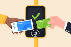 Hand holding transport card and phone near terminal. Airport, metro or bus and subway ticket terminal validator. Wireless, contactless or cashless payments, RFID NFC. Vector illustration.