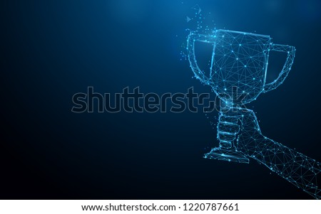 Hand holding trophy cup tophy form lines, triangles and particle style design. Illustration vector