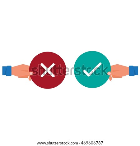 Hand holding true and false sign. Positive and negative feedback concept. Yes or No icons flat design style. Cartoon Vector Illustration.