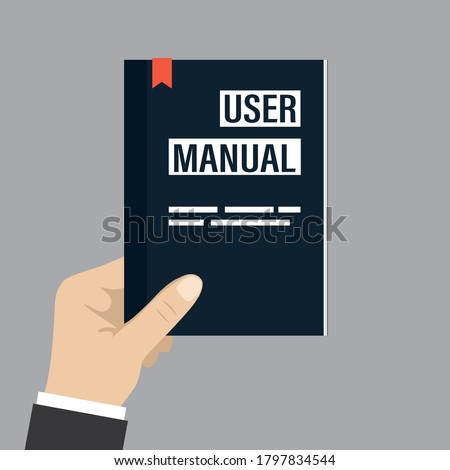 Hand holding user manual. User guide or FAQ. Cartoon textbook isolated on grey background. Flat design vector illustration ストックフォト ©