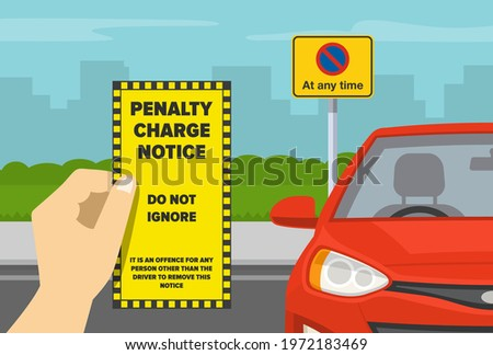 Hand holding violation ticket.  Restricted parking area. No parking at any time road sign. Flat vector illustration template. Stockfoto ©
