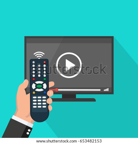 Hand holding wireless remote control near flat screen tv watching video film, cartoon person watching movie on television display