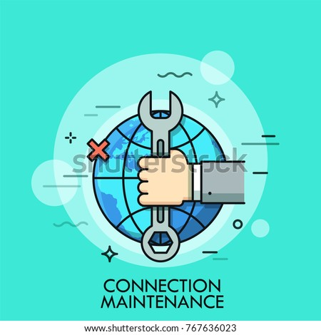 Hand holding wrench or spanner against globe and x cross sign on background. Concept of internet connection maintenance, technical problems solving. Vector illustration for web banner, website.