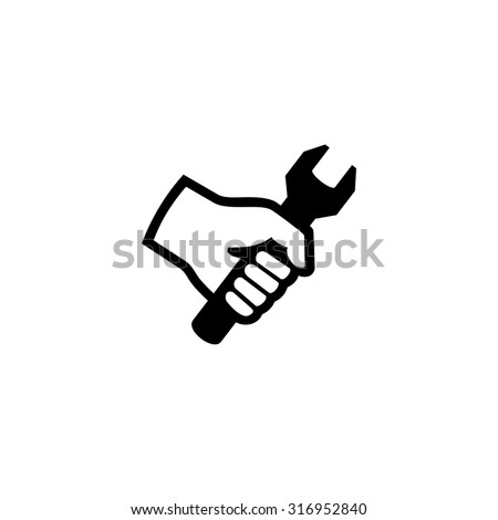 Hand holding wrench. Tool icon vector