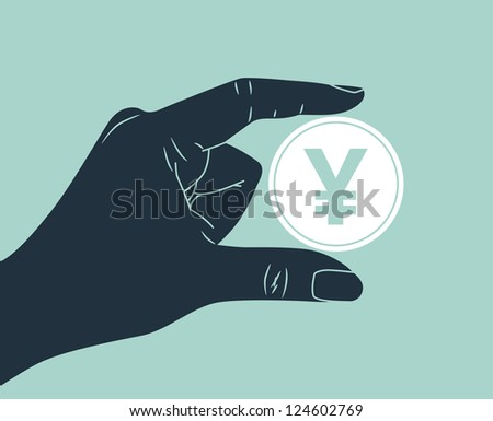 hand holding yen coin - stock vector