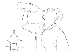 Hand holds a bottle man drinking from a bottle, black and white vector illustration