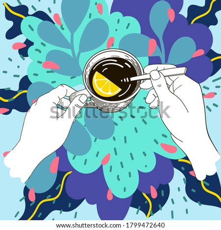 hand holds a cup of tea, against a background of abstract leaves and flowers, turquoise background, a slice of lemon in a cup, morning tea, vector illustration, top view Foto stock ©