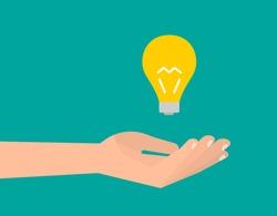Hand holds a light bulb. Idea creative inspiration concept. Isolated vector illustration flat design