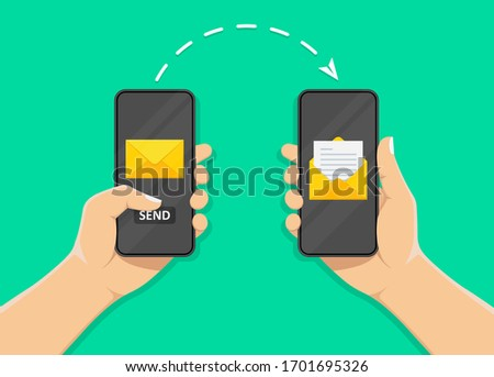 hand holds a mobile phone on the envelope screen and the send button. notification on the smartphone screen of a new message. concept of sending and receiving messages.stock vector illustration.
