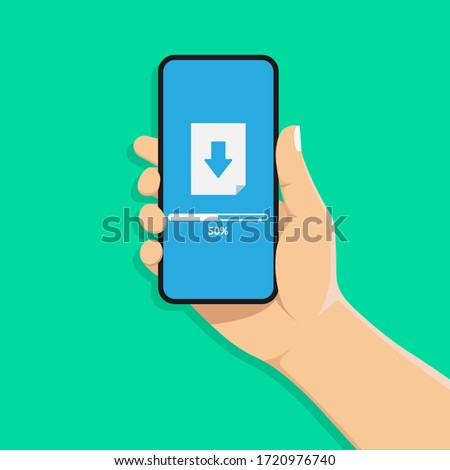 Hand holds a mobile phone. The loading process on the smartphone screen. Software interface background. Vector illustration in a flat style. stock photo