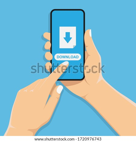 Hand holds a mobile phone. The loading process on the smartphone screen.Touch finger. Software interface background. Vector illustration in a flat style. stock photo