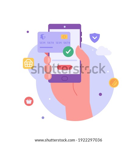 Hand holds a phone with received confirmation of payment. Online mobile payment and banking service. Concept of payment approved, payment done. Vector illustration in flat design for web banner