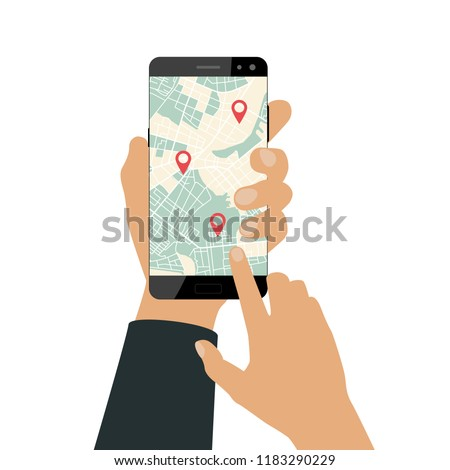 Hand holds a smartphone. Using smartphone for navigation or ordering taxi service. Flat design. Vector illustration
