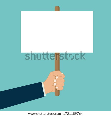 hand holds blank placard protest sign vector banner Foto d'archivio ©