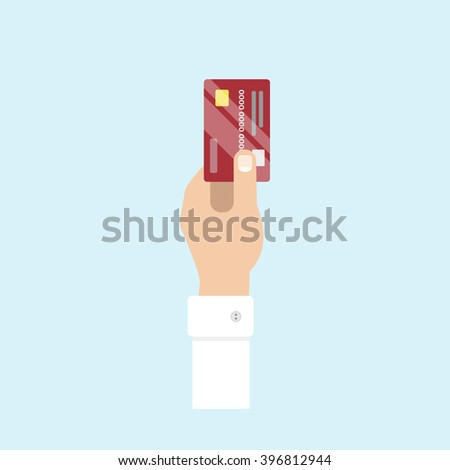 Hand holds credit card. Credit card payment, purchase, transaction. Vector flat design style.