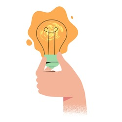 Hand holds glowing light bulb. Concept of new idea, thinking, innovation, solution for web or ui design. Come up with brilliant creative idea for project, business, start up in trendy modern style.