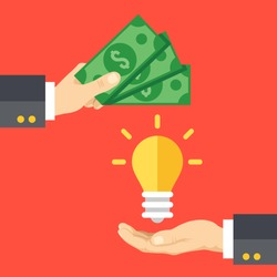 Hand holds money, hand holds light bulb. Buy idea, investing in innovation, modern technology business concept. Modern flat design graphics for web sites, web banners, infographics. Vector illustration
