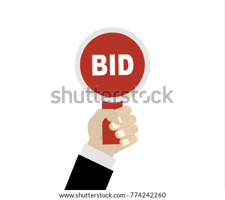 Hand holds paddle with BID inscriptions. Auction competition. Business bidding process. Buying things by offering price, trade. Vector illustration. Flat style design