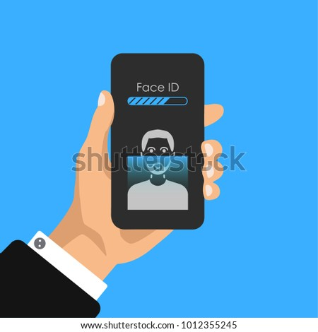 Hand holds phone with face id icons on scren. Face scanning process icons. Facial recognition system signs. Facial detection and access security symbols. Vector illustration