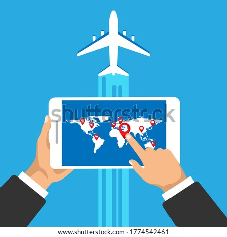 Hand holds phone with world travel map and pinpoint on it. Location on a global map and take off plane. Vector illustration.