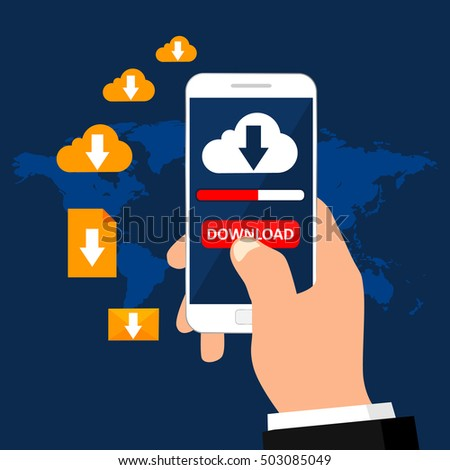 Hand holds smartphone with button download and download cloud on screen. Downloading various files. Business concept. Vector illustration.