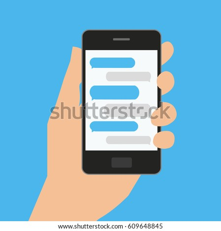 Hand holds smartphone with messaging sms app. Vector illustration in flat style on blue background.