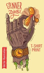 Hand holds the spinner. Zombie apocalypse - spinners. Zombie hand SWAG guy holding gold spinner. Gold watch on gangster hand in tattoos. Print for T-shirts. Vector illustration on white background.