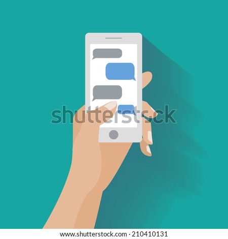 Hand holing white smartphone similar to iphon with blank speech bubbles for text. Text messaging flat design concept. Eps 10 vector illustration