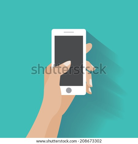Hand holing white smartphone, touching blank screen. Using mobile smart phone similar to iphon, flat design concept. Eps 10 vector illustration