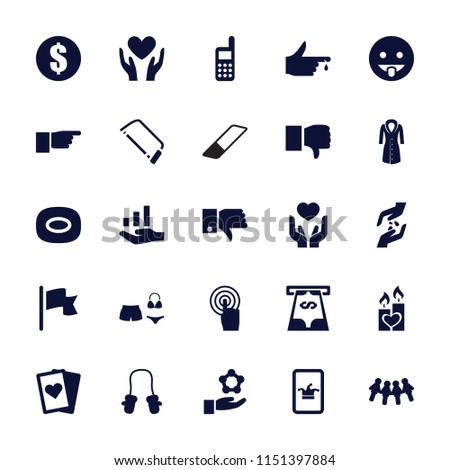 Hand icon. collection of 25 hand filled icons such as baby mitten, poker on phone, soap, hacksaw, money, dislike, showing tongue emot. editable hand icons for web and mobile.