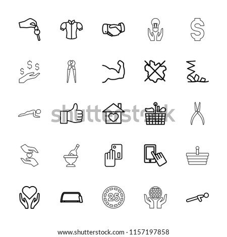 Hand icon. collection of 25 hand outline icons such as finger on display, no wash, sandals, blouse, handshake, hacksaw, credit card. editable hand icons for web and mobile.