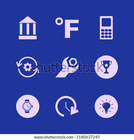 hand icon. hand vector icons set recycle gear, trophy cup, watch and fahrenheit